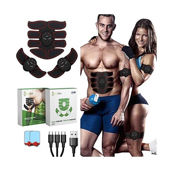 GreenMoon Electrostimulateur Musculaire, Ceinture Abdominale, Electrostimulateur fessier, Stimulateur Abdominal EMS…