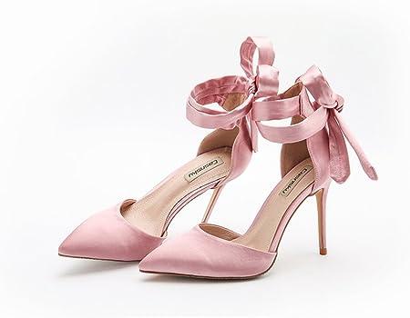 Scarpe Sposa Rosa.10cm Scarpe Da Sposa Con Tacco Alto In Raso Di Seta Rosa Estate