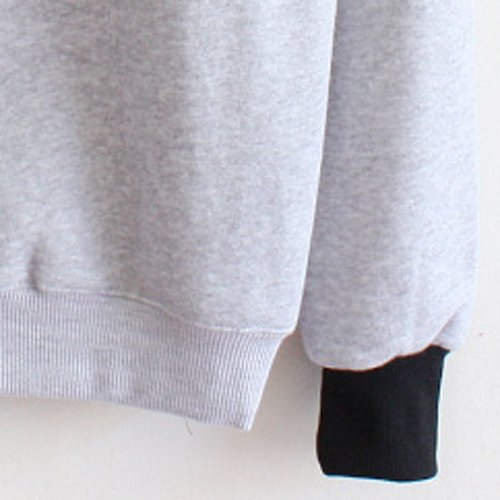 SODIAL (R) Damen Laessiger Druck Loses Vlies Pullover - Grau