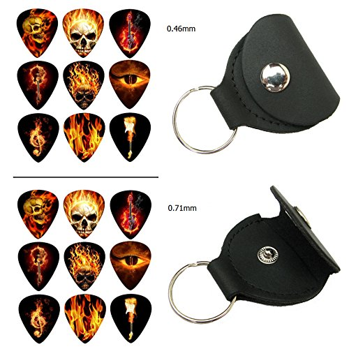 Easeicon 18-Pack Skull & Gaze Theme (Skeleton,Eye,Fired Treble Clef Patterns) Celluloid Electric, Acoustic or Bass Guitar Picks, 2 Leather Plectrum Holder Case Keychain Cover Included