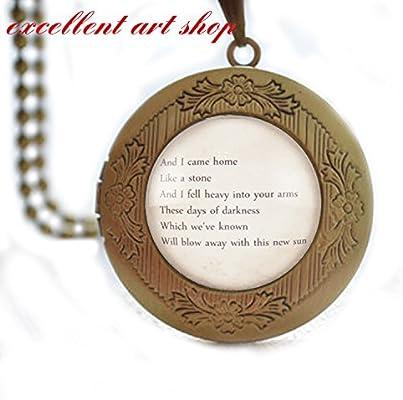 fc9413102fbff Amazon.com: Personalized Song Lyric Locket Necklace Pendant, Custom ...