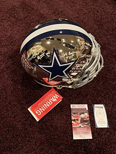 Emmitt Smith Autographed Signed Memorabilia Dallas Cowboys Chrome Stat Helmet 18 Inscriptions - JSA Authentic