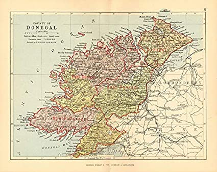 Donegal Map Of Ireland.Amazon Com County Donegal Antique County Map Ulster Ireland