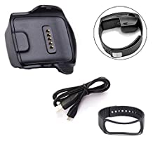 Efitty Charger Cradle Charging Dock Gear Fit Charger+USB Cable+Wrist Band Bracelet for Samsung Galaxy Gear Fit R350 (Black)