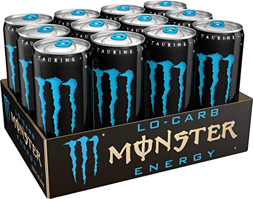 Lo-Carb Monster Energy, Energy Drink, 10.5 fl. oz. (Pack of 12) (Monster Energy Cans)