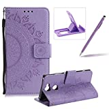 Strap Leather Case for Sony Xperia XA2 Ultra,Purple Wallet Cover for Sony Xperia XA2 Ultra,Herzzer Classic Retro Pretty Mandala Flower Embossed Magnetic Closure Stand Shockproof Flip PU Leather Back Case with Soft Silicone