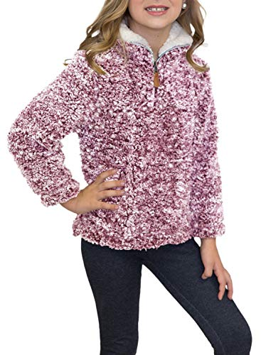 (ZESICA Girls Kids 1/4 Zip Pebble Pile Sherpa Fleece Pullover Jacket Tops)
