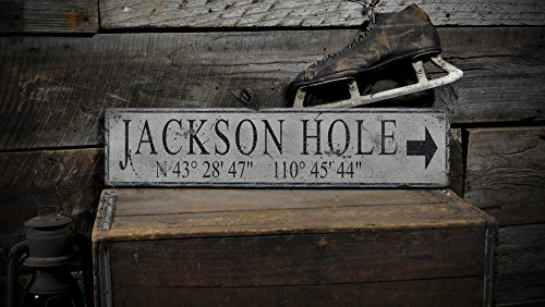 The Lizton Sign Shop Custom Jackson Hole Lat & Long Wooden Sign - 11.25 x 60 Inches