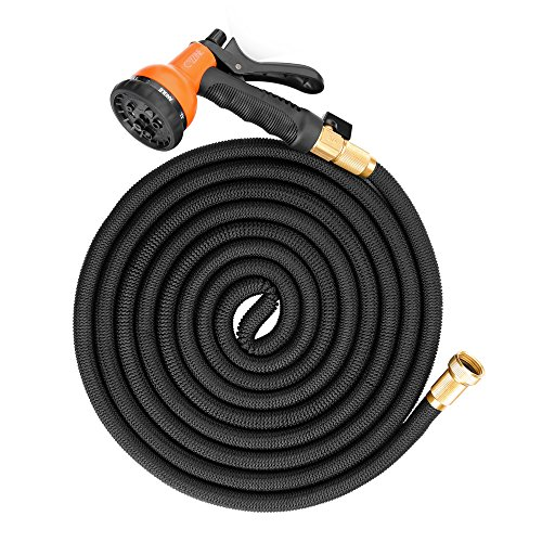 """50ft Expandable Garden Hose, Cozzine Expandable Water Hose with 8 Function Spray Nozzle, 3/4"""" Solid Brass..."""