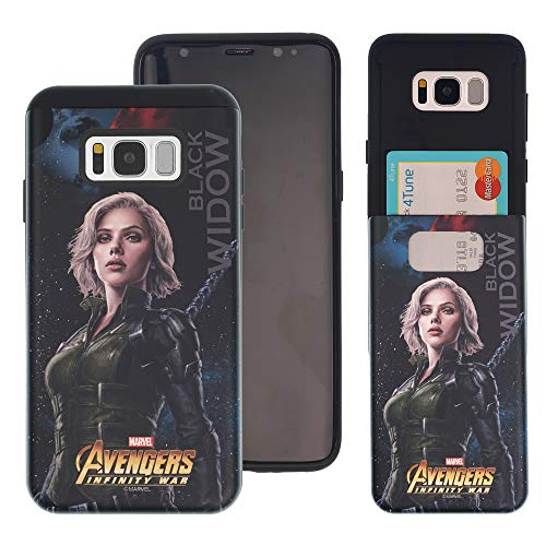 Galaxy S10 Plus Case Marvel Avengers Infinity War Slim Slider Cover : Card Slot Shock Absorption Dual Layer Holder Bumper for [ Samsung Galaxy S10 Plus (6.4inch) ] Case - Black Widow