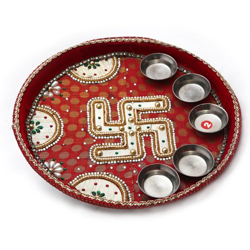 Akbari Traders Pooja Thali (Aarti thali) for Home / Handicraft and Stone Work Pooja Thali Set / Pooja Decorative Thali for Home Temple / Wedding Return Gift.