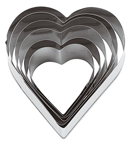 Paderno World Cuisine Heart Dough Cutters, 6-Piece Set (8 Inch Heart Shaped Cookie Cutter)
