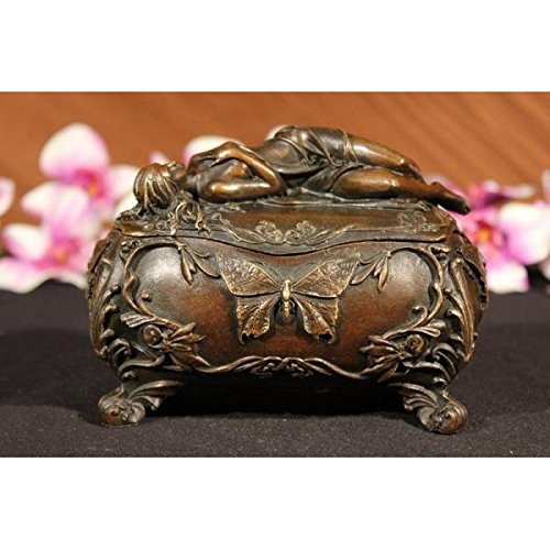 Admirable Old Filigree Jewel Bronze Trinket Casket Jewelry Box Sculpture Statue Art (Statue European Art Sculpture)