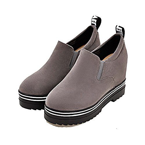 High Solid On Pull Heels Round Suede Toe Imitated Women's Gray Boots AgooLar xqC8gg