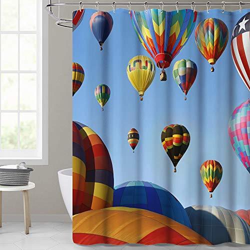 KGORGE Bathroom Shower Curtain, Hot Air Balloons Design Colorful Home Decorations, Waterproof & Washable for Hotel and Bath Tub, 72x72 Standard Size, Sliding Hooks Included]()