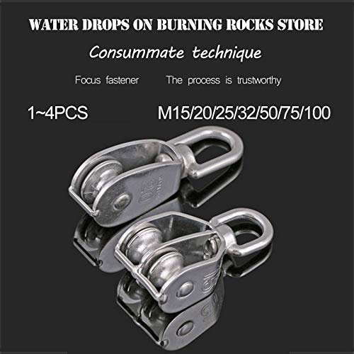 Ochoos 1~4Pcs M15~100 304 Stainless Steel Single/Double Pulley, Rope Chain Traction Fixed Pulley, Load-Bearing Pulley - (Color: Single 4Pcs M15)