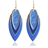 Fashion Long Enamel Leaf Tear Drop Earrings For Women Bohemian Simple Elegant Big Ear Jewelry Brincos Para As Mulheres