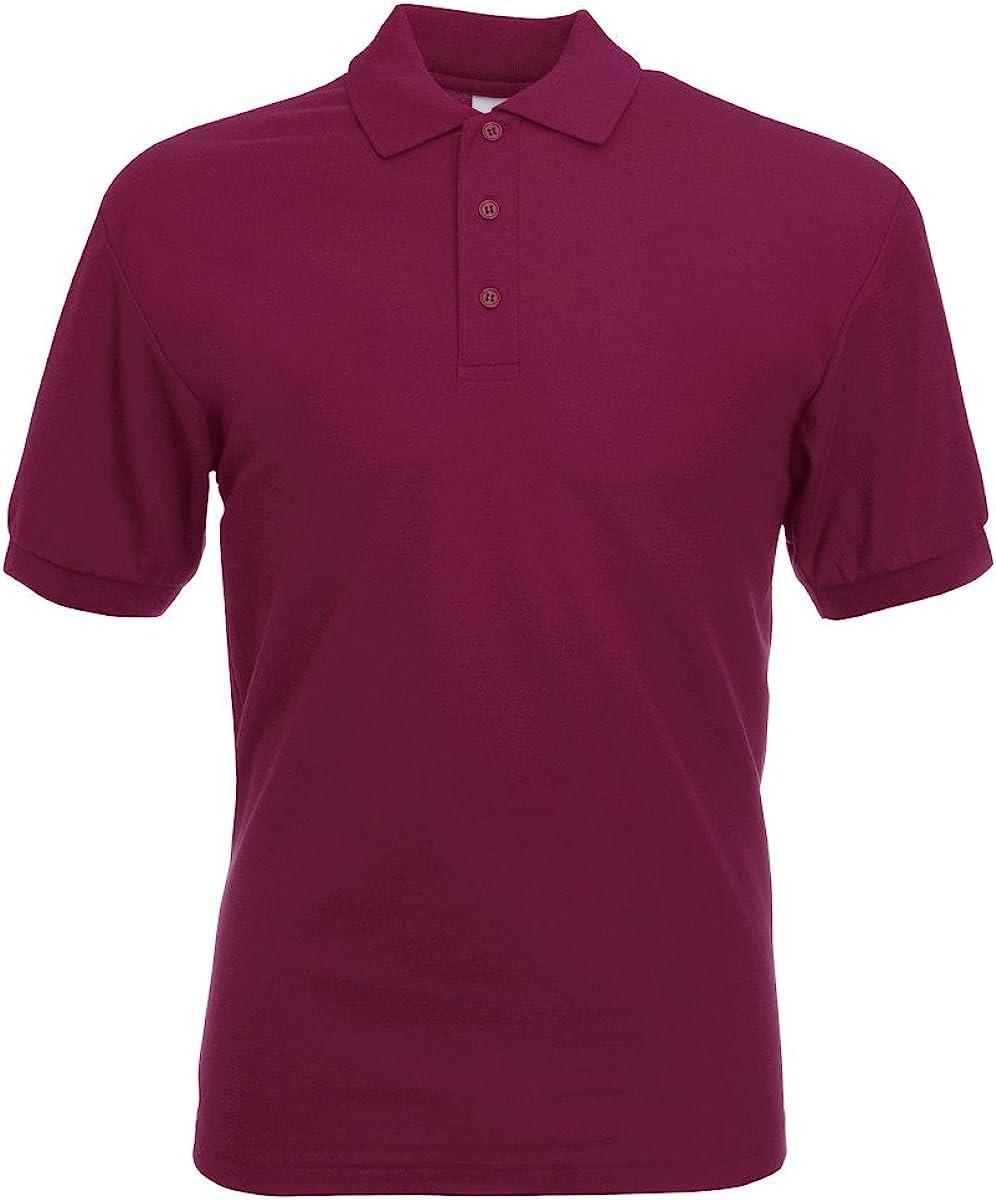 Fruit of the Loom Mens 65//35 Polo Shirt Guaranteed to Perform at 60/° wash Short Sleeves