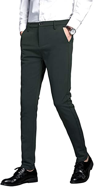 SELX Men Open Bottom Stretchy Slim Fit Casual Stylish Workwear Pants Trousers