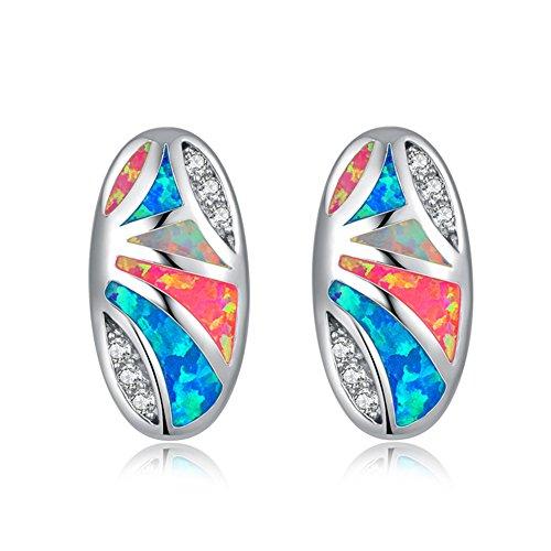 CiNily White Gold Plated Round Opal Zircon Stud Earrings Women Jewelry Gift Gemstone Stud Earrings 16mm