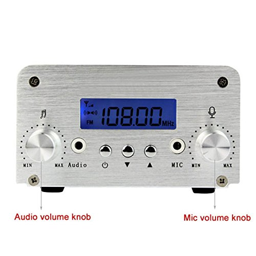 low-cost TIVDIO T6-A 1W / 6W FM Transmitter Long Range Mini Radio Stereo Broadcast Station PLL LCD Display AUX In Line with Antenna for Home Factory Church School(Silver)