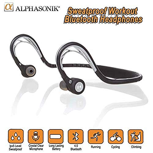 Alphasonik ASE300BT Bluetooth Headphones, V4.0 Wireless Sport Headphones, Sweatproof Running Headset with Built in Mic for Workout Exercise IPX5 SplashProof, Ergonomically Designed for Extra Comfort