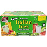 Lieber's Wyler's Italian Ices Original Flavors, Kosher, Gluten-Free, Fat-Free Italian Ices, 80 Ounce Box (2 Oz Bars, Total of 40 Bars)