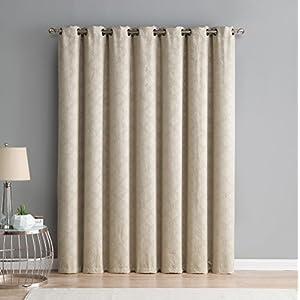 "HLC.ME Redmont Lattice Extra Wide-Width Thermal Blackout Grommet Patio Door Curtain Panel for Sliding Door - 102"" W x 84"" inch Long (Taupe)"