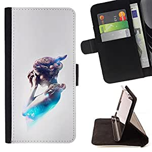 KingStore / Leather Etui en cuir / Apple Iphone 4 / 4S / FUTURO DE PINTURA DE LA MUJER RESUMEN
