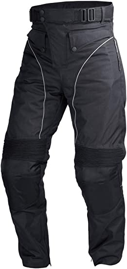 4XL-Long Men Motorcycle Riding Pants WaterProof WindProof Black with Removable CE Armor PT5