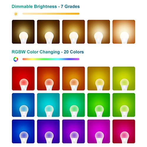 RGB LED Light Bulb with Remote, Color Changing Light Bulb, 900LM Dimmable 9W E26 Screw Base RGBW, Mood Light Flood Light Bulb - 20 Color 6 Modes - Remote Control Included (2 Pack)