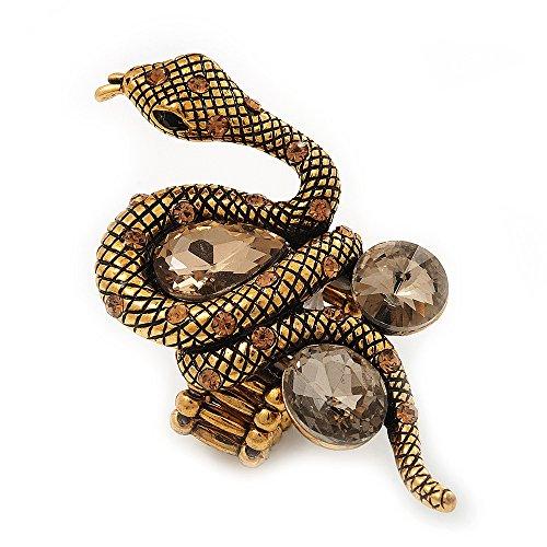 Avalaya Stunning Swarovski Crystal Snake Stretch Ring in Burn Gold Metal (6cm Length)- 7/9 Size