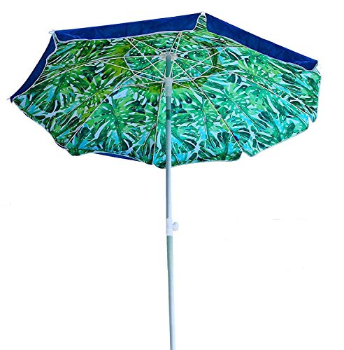 AMMSUN 6.5 Feet Beach Umbrella with Tilt Mechanism and Carrying Case,UPF 50+,Color Blue and Green,Perfect for Outdoor Beach, Camping, Sports, Gardens, Balcony and Patio For Sale