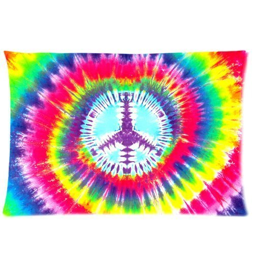 Marsh Flannel Fabric (Colorful Peace Tie-Dye Custom Zippered Pillow Cases 20x30 (Twin sides))