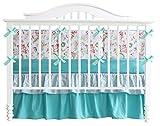 Teal Green Flowers 7pcs crib set Baby Bedding Set Crib Bedding Set Girl Nursery Crib bedding