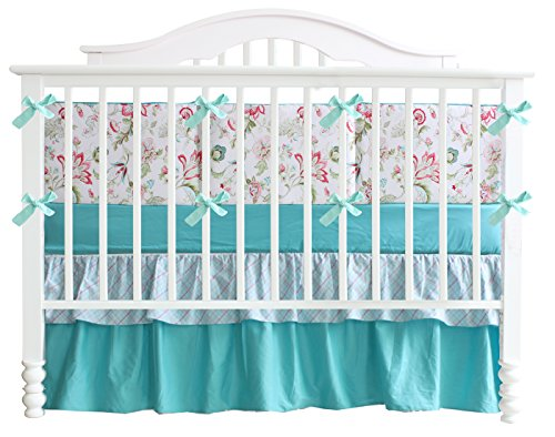 Teal Green Flowers 7pcs crib set Baby Bedding Set Crib Bedding Set Girl Nursery Crib bedding Teal Flower Girl