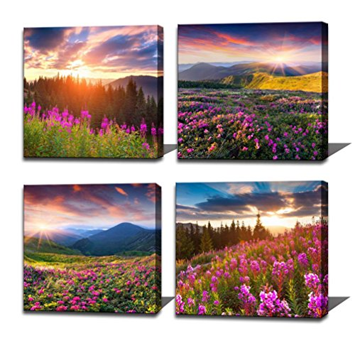 Noah Art-Modern Landscape Art Print Posters, Sun Light over Mountains Wall Art Pictures of Flowers on Canvas Print, 4 Piece Sunrise Canvas Art Ready to Hang Outdoor Wall Art for Bathroom Wall (Art Small Poster)