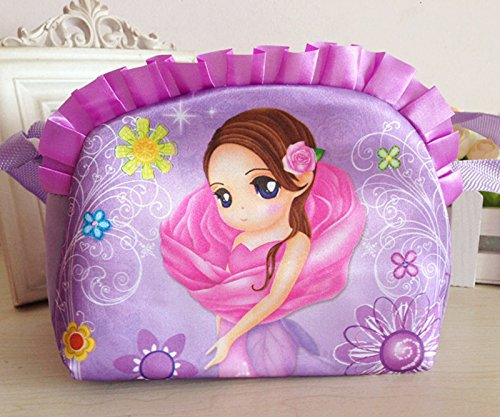 GIRLS PURPLE Wallet Small Girls Bag Cosmetic School WITH Cute Phone Makeup FLOWER Travel Blue Dress Princess Shoulder Kids 6t6qCwWZ
