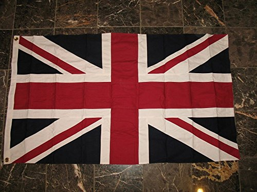 BRITISH UNION JACK FLAG 5 FT X 8 FT 100% COTTON & PATCH COMBO UK Great Britain British Empire (8 Foot British Flag compare prices)