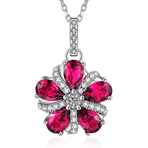 Caperci Sterling Silver Pear-Shaped Created Ruby Gemstone Pinwheel Pendant Necklace for Women, 18'' - Pear Shaped Ruby Necklace