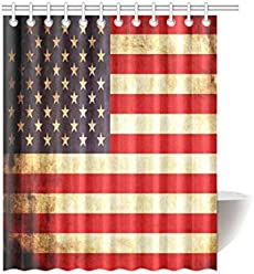 Red White Blue Star Stripe United States USA American Flag Waterproof Bathroom Decor Fabric Shower Curtain