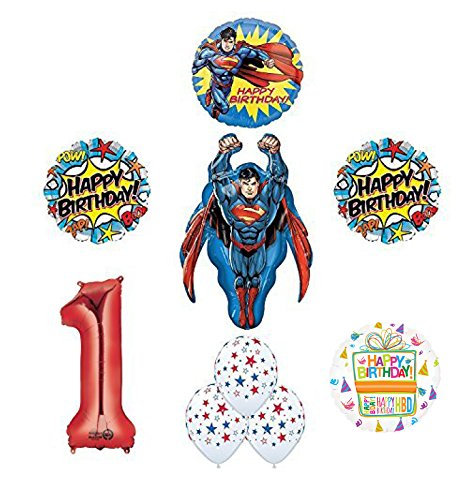 Superman 1st Birthday Party Supplies and Balloon -