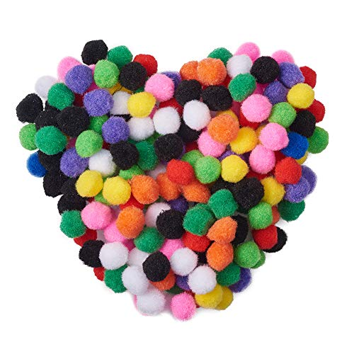 PandaHall Elite About 500 Pcs Assorted Pompoms Multicolor Arts and Crafts Fuzzy Pom Poms Balls Diameter 25mm for DIY Doll Creative Crafts Decorations -