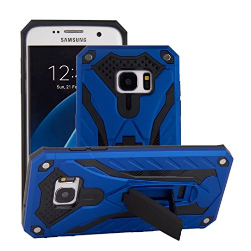 Galaxy S7 Edge Case,Funfe Heavy Duty Built-in Kickstand Protective Cases for Samsung Galaxy S7 Edge Dual Layers Armor Shock Absorption Impact Resistant Rugged Stand Back Cover (Blue)