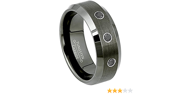 White Diamond Solitaire Wedding Band Men/'s April Birthstone Ring 8mm Black Ion Plated Brushed Center Tungsten Carbide Ring TS1662