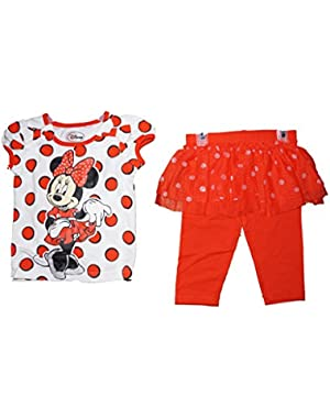 Minnie Mouse Polka dot T Shirt & Ruffled Flounce Capri Legging Outfit