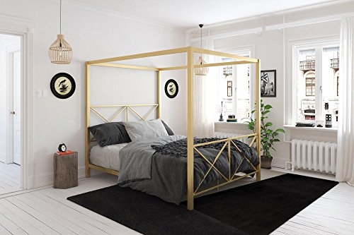 DHP 4068239 Rosedale Canopy Bed Queen Gold
