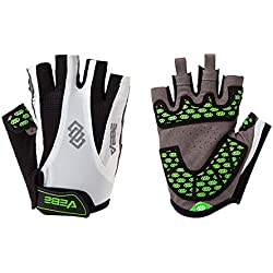 VEBE Men's Half Finger Anti-slip Biking Gloves Cycling Riding For Cross-country Road Sports,Color white,Palm Width about 9-10 CM