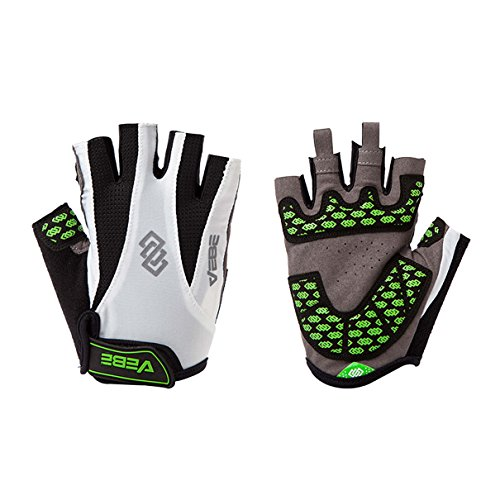 VEBE Men's Half Finger Anti-slip Biking Gloves Cycling Riding For Cross-country Road Sports,Color white,Palm Width about 7-8 CM
