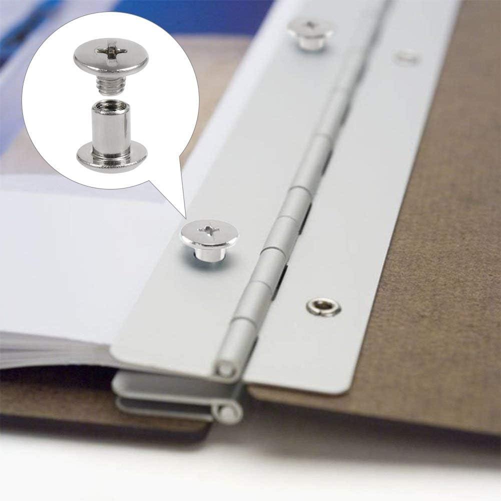 TIMESETL 50 Sets Chicago Binding Screws Kit,Book Binding Screws /& Posts,Chicago Button Solid Belt Tack Screw Post Fastener Leather Repair Screws for DIY Leather Decoration Bookbinding